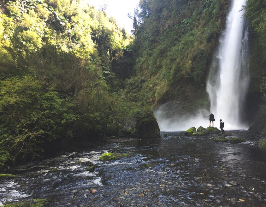 Hiking to the waterfalls of Chiloe, Chile