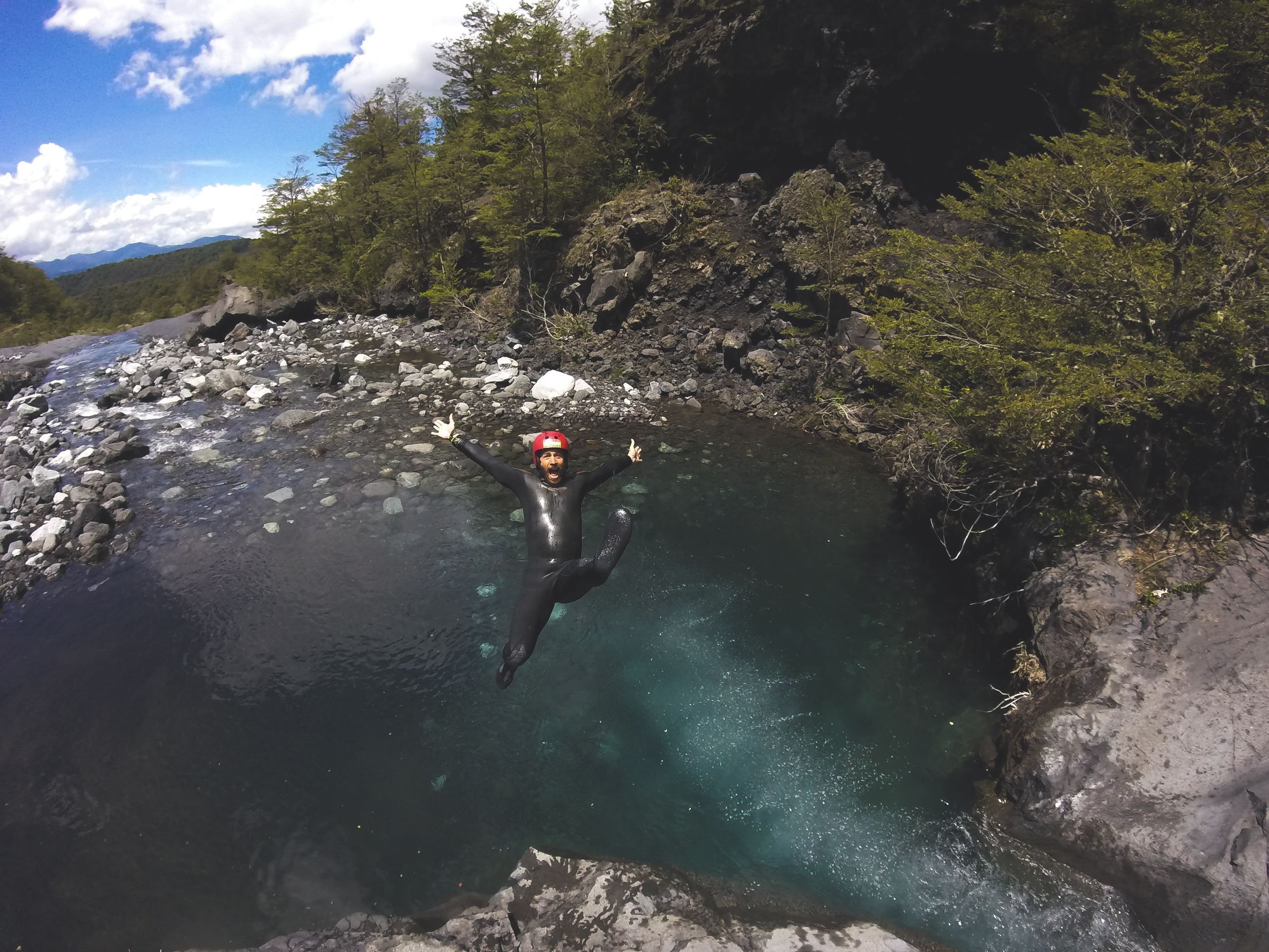 "Mike being ""fabulous"" while canyoning in Pucon, Chile"