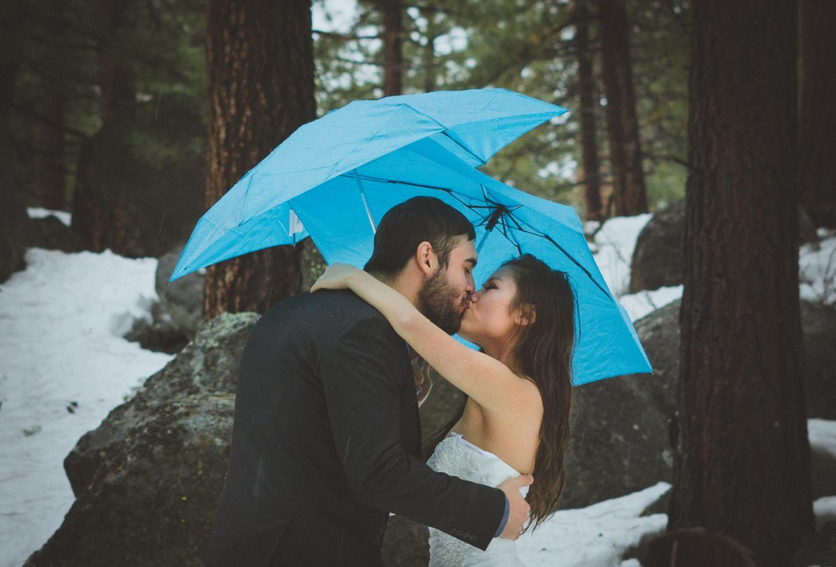 Married Couple Kisses in Lake Tahoe