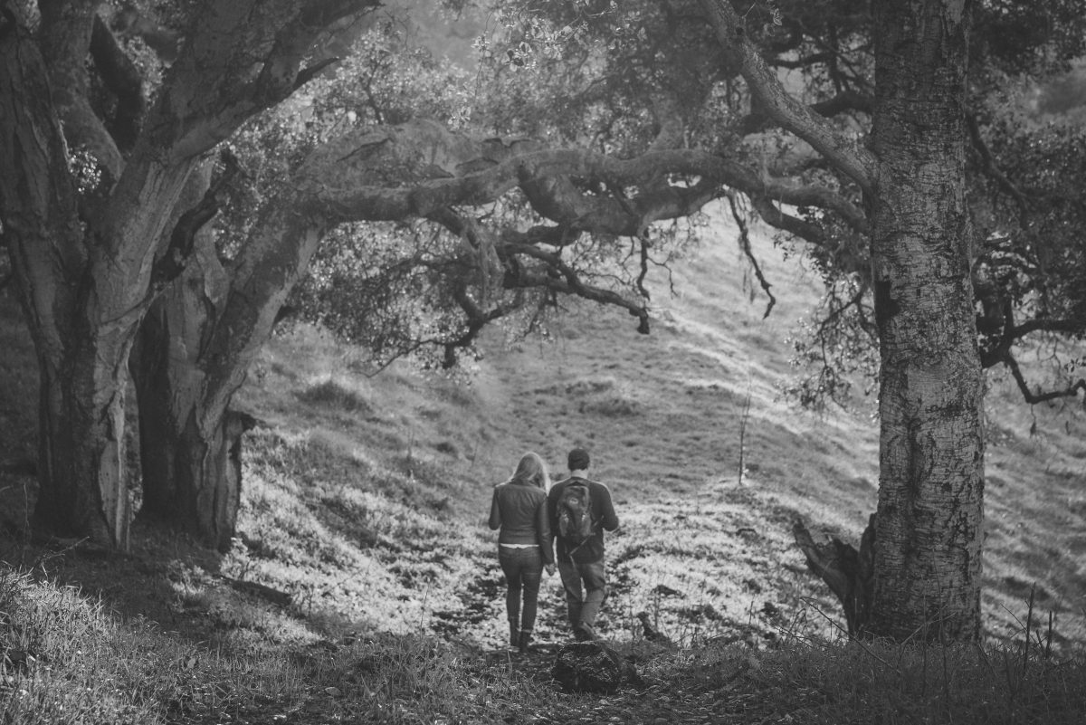 Engaged couple walking through the trees