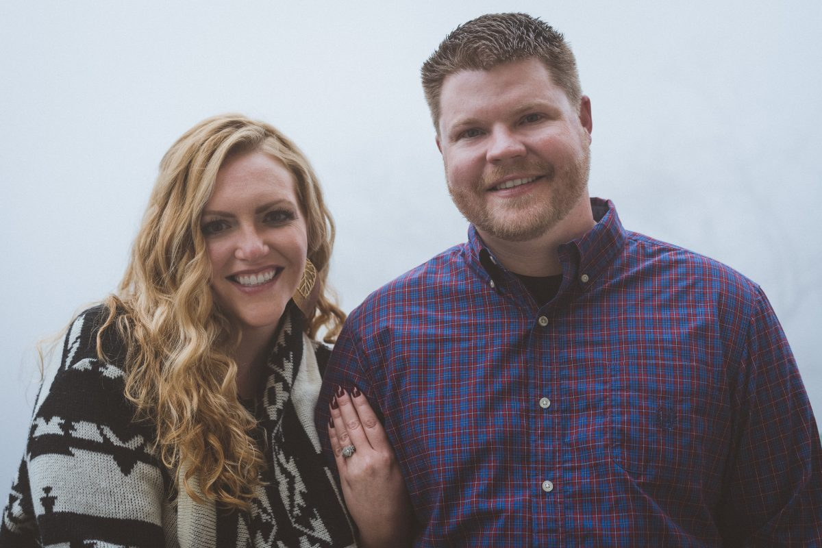 Beautiful Engaged Couple on a Foggy Day
