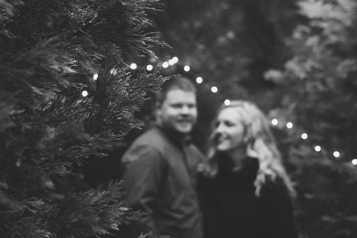 Black and White String Light Forest Engagement Photos