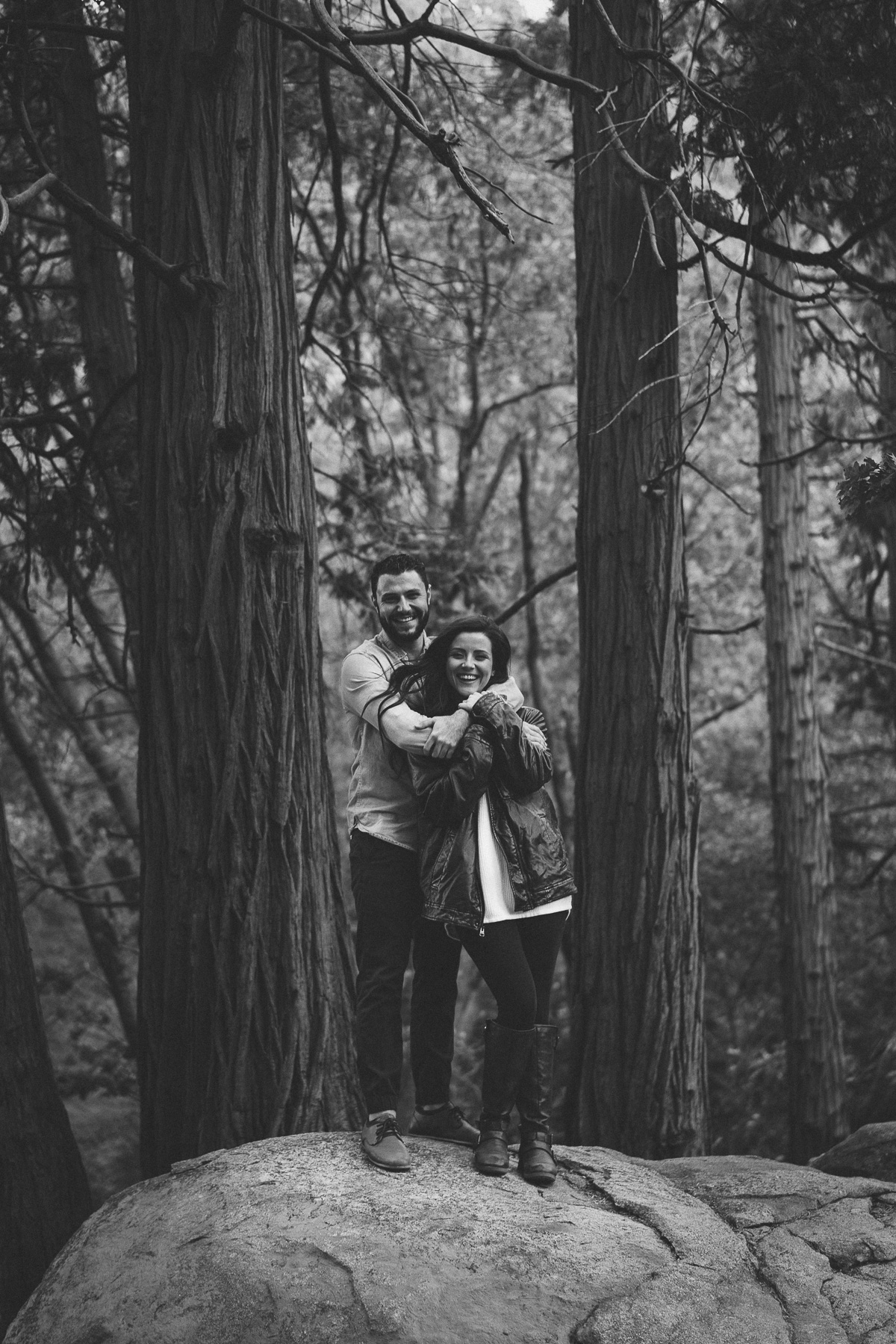 Black and white outdoor engagement photo