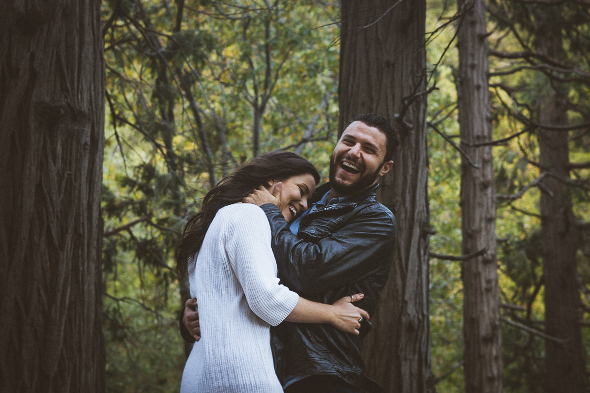 laughing couple engagement photo