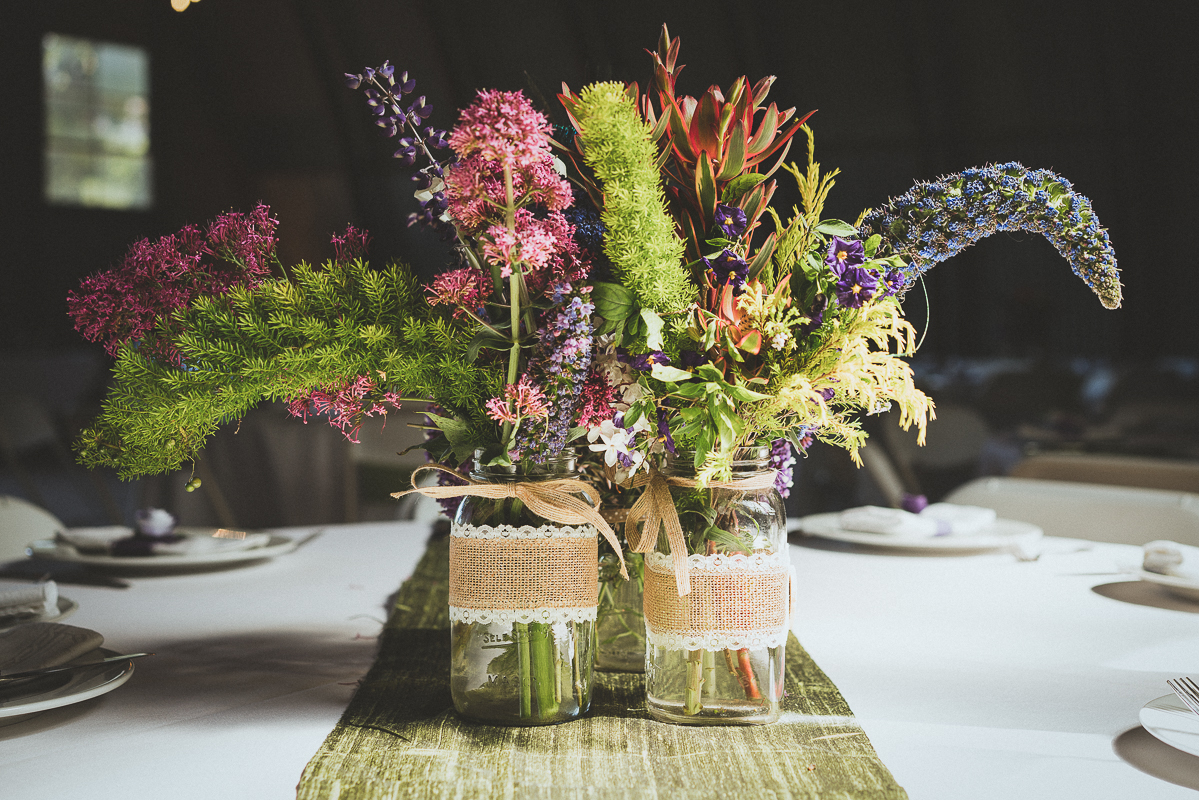 wild flowers in wedding reception