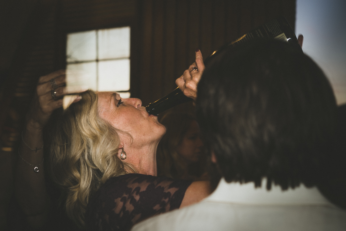 Mom of the bride having fun