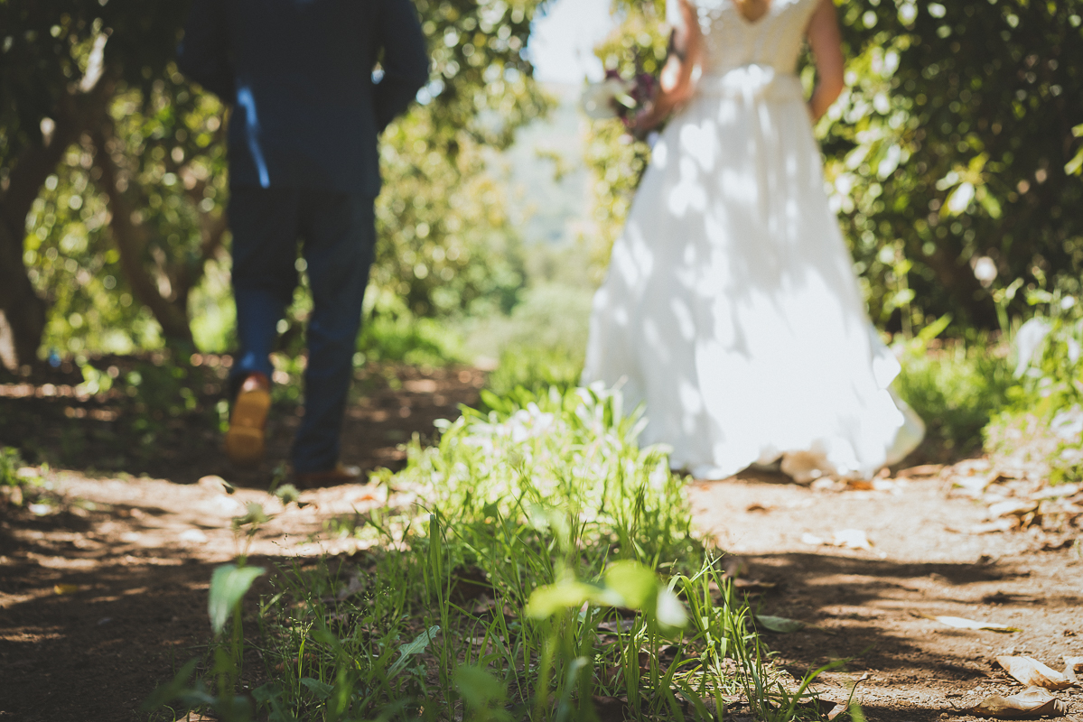 bride and groom walk in the green grass