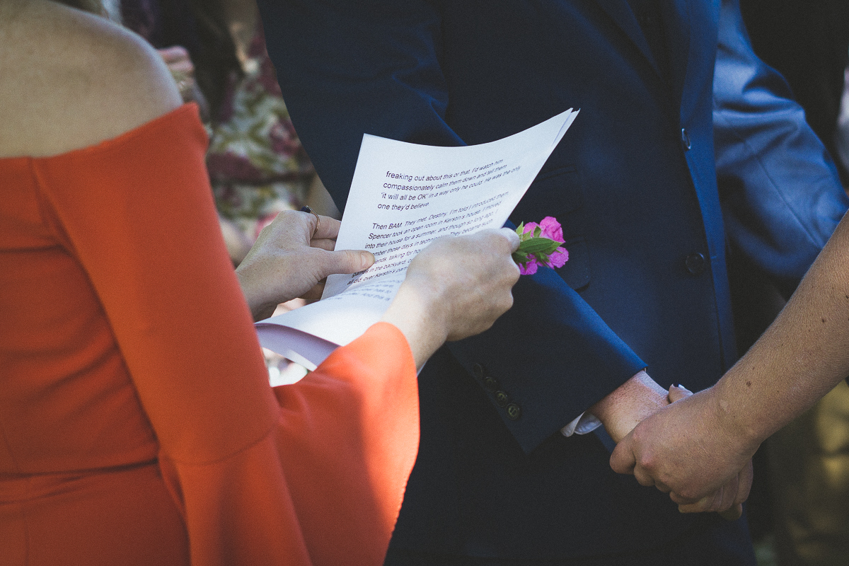 reading the vows