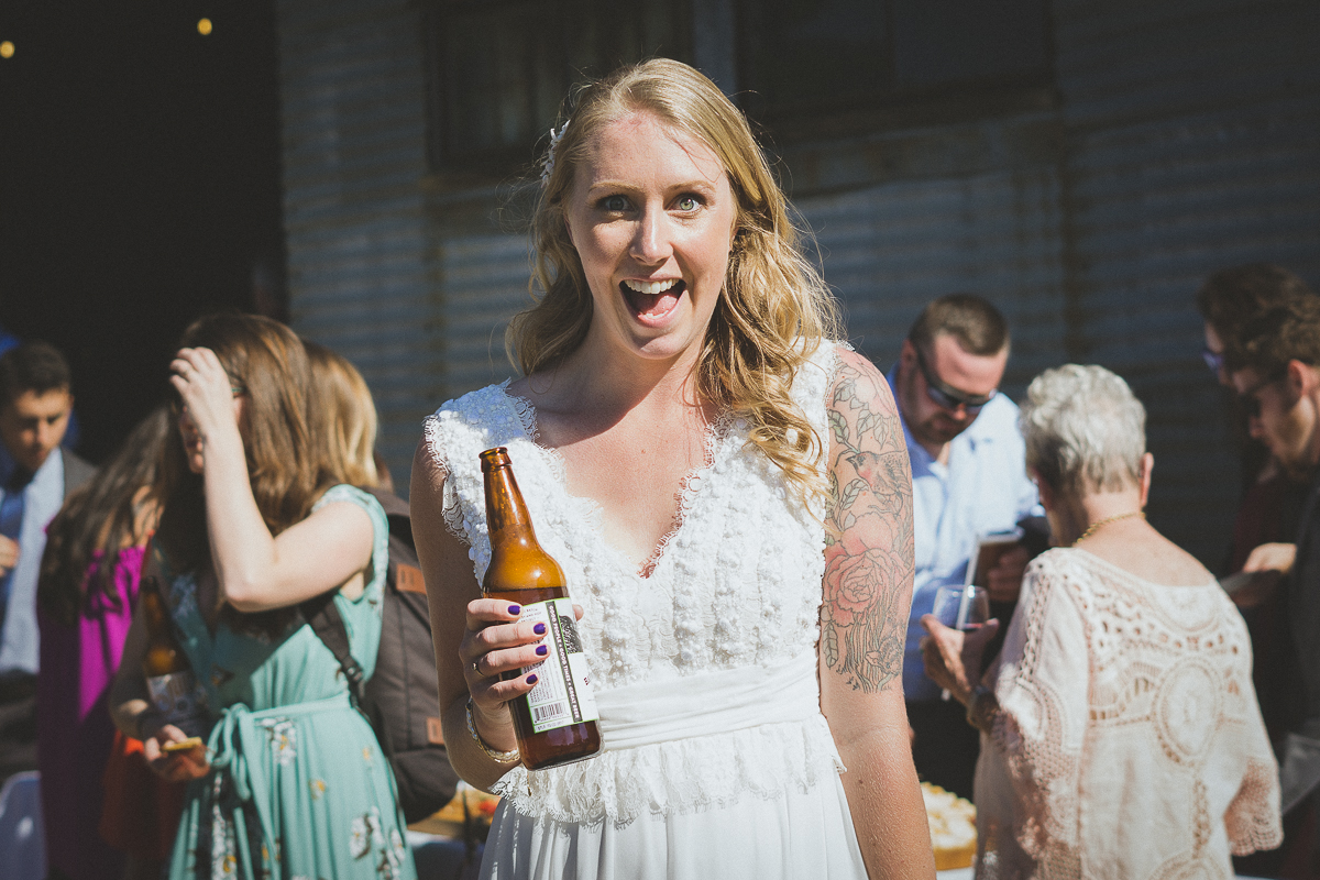 Bride drinking Barrel House beer