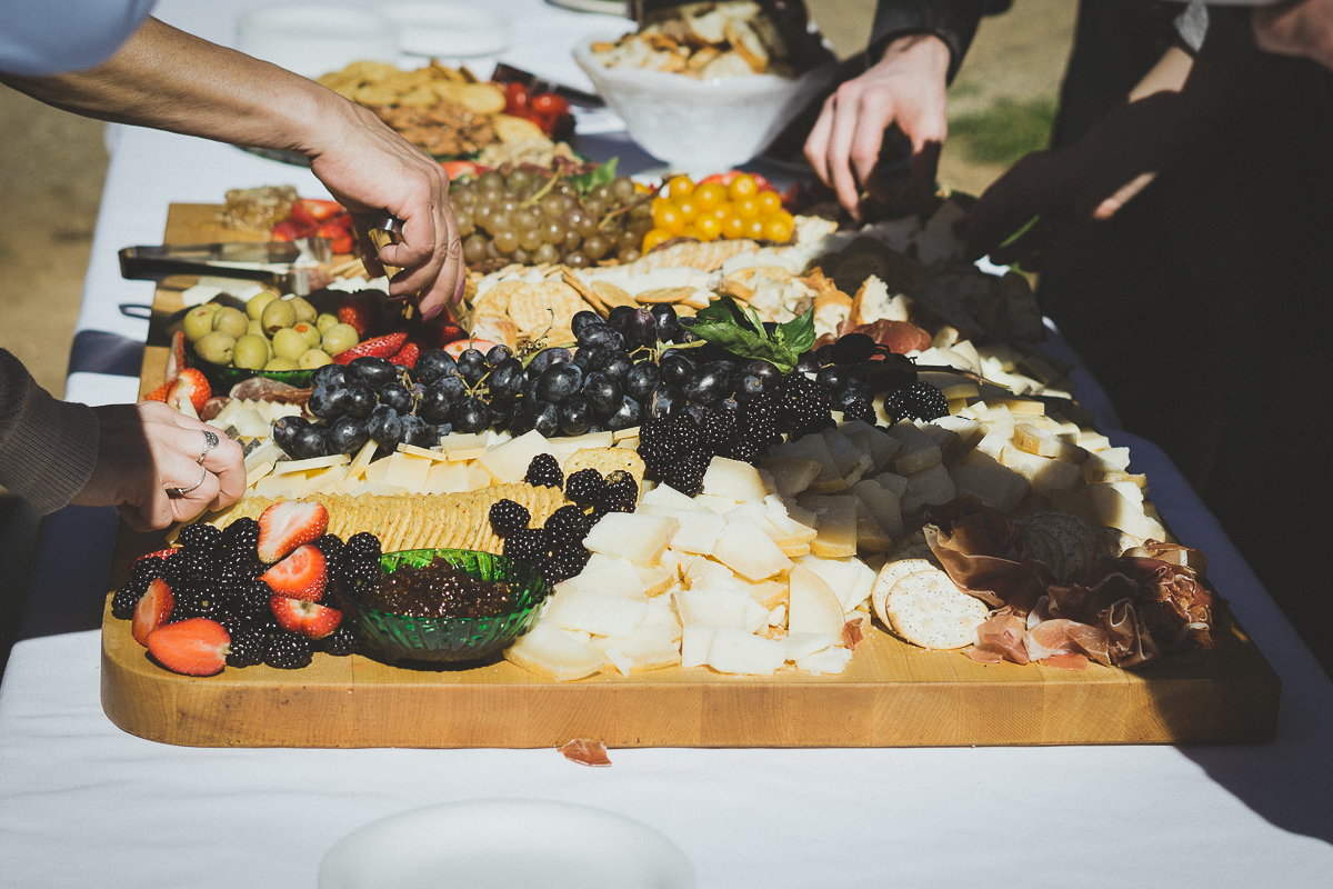 Cheese, meat, and fruit plate for a wedding