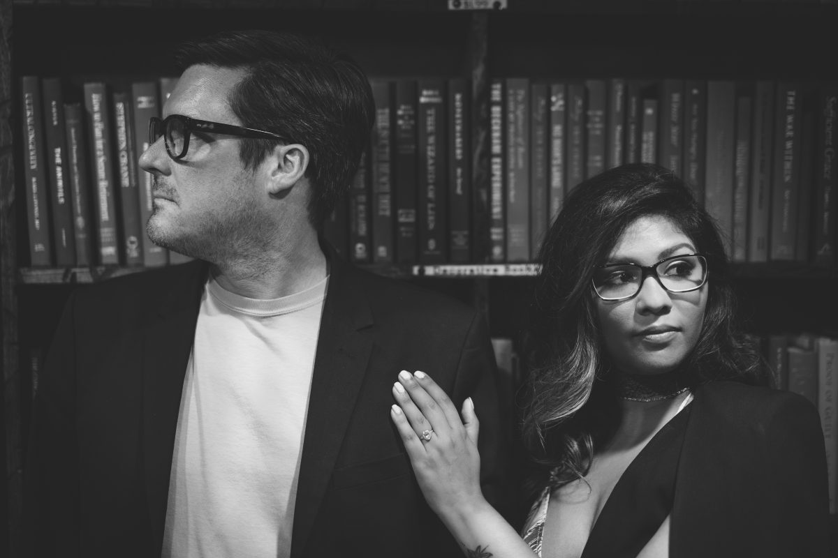 Black and white The Last Bookstore Engagement Pictures