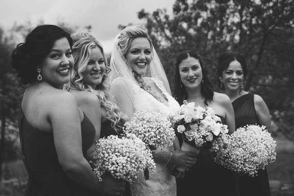 black and white portrait of bride and bridesmaids