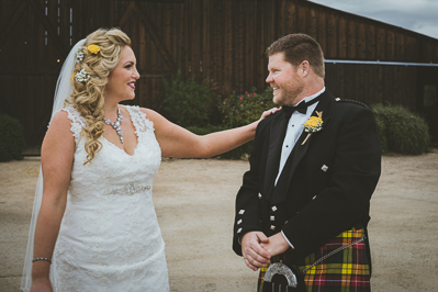 Bride and groom over the moon