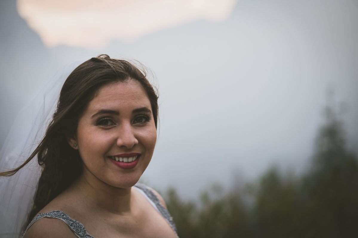 Beautiful bride during sunrise
