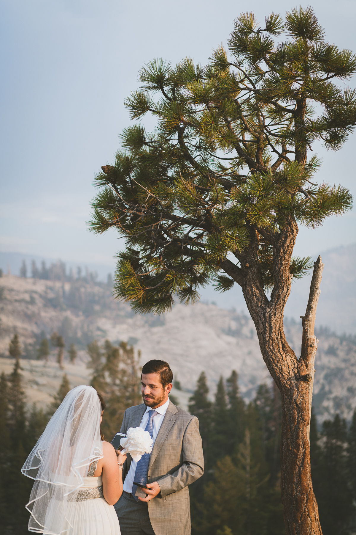 bride saying her vows in Yosemite