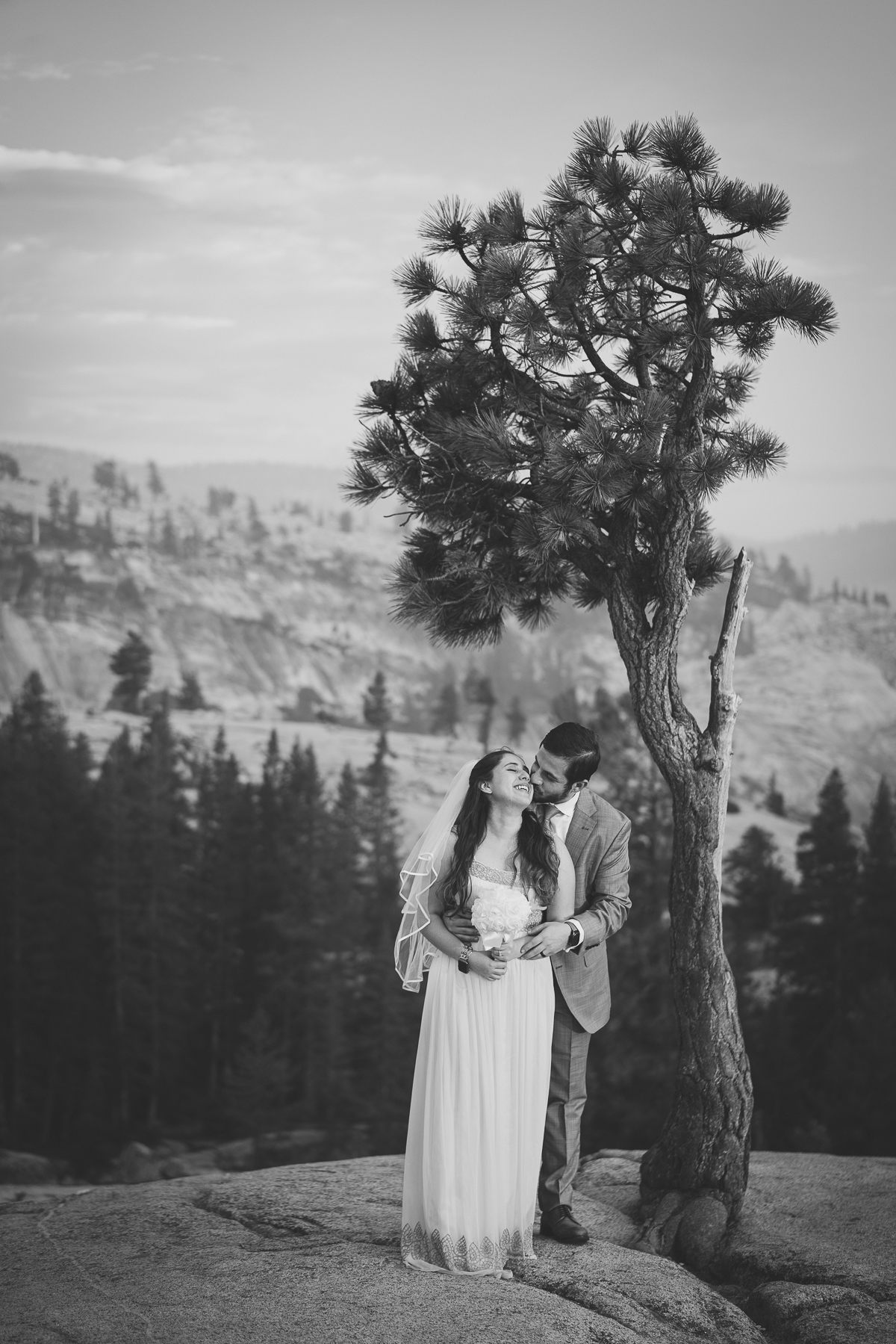 Black and white wedding in Yosemite