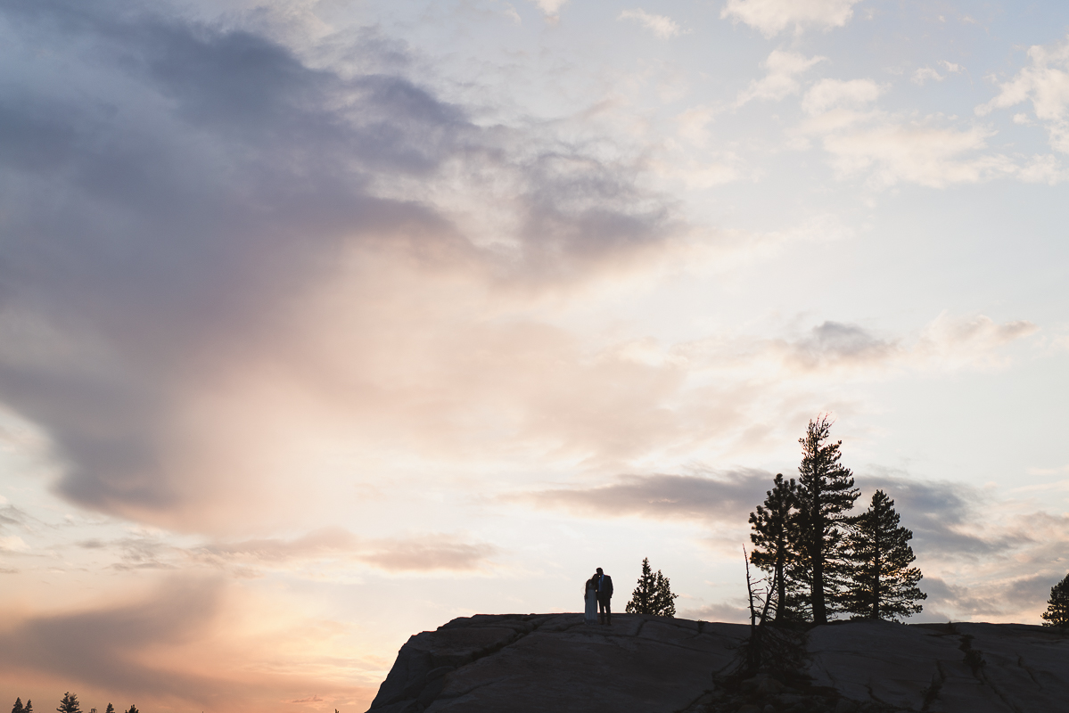 Married lovers in Yosemite during sunset