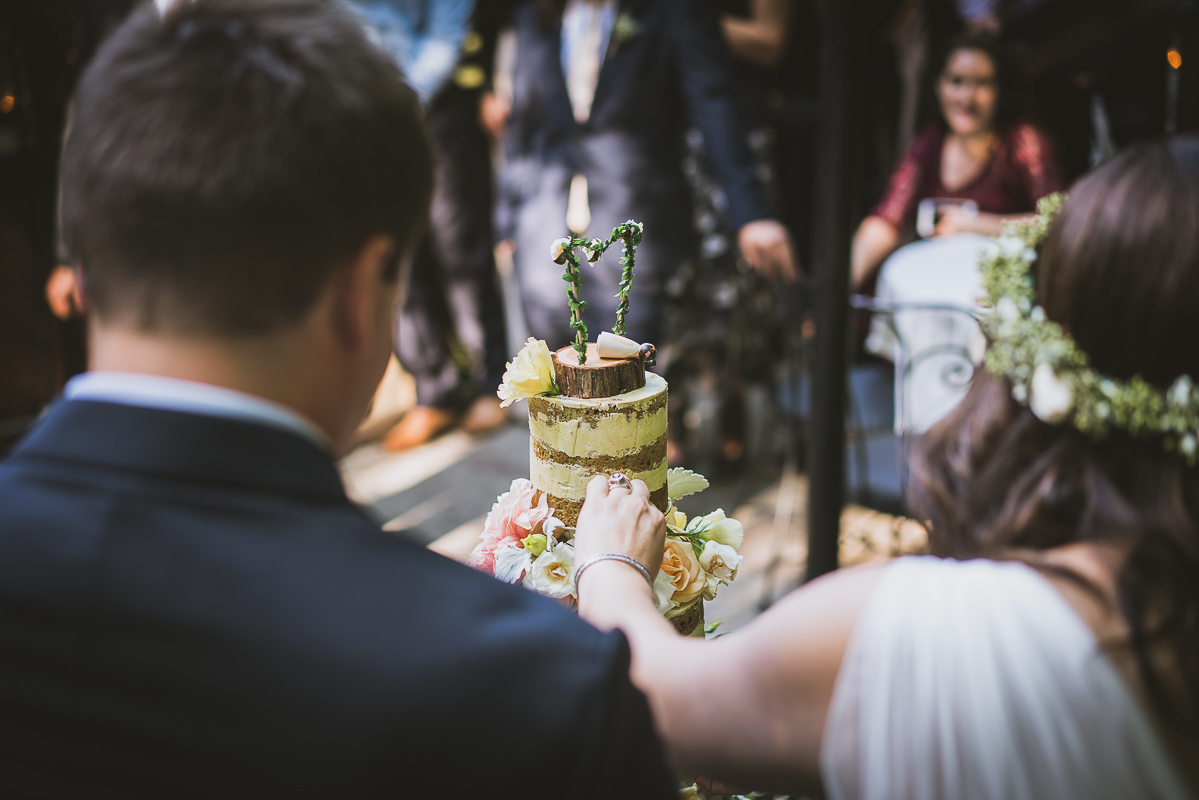 bride and groom cutting the beautiful cake