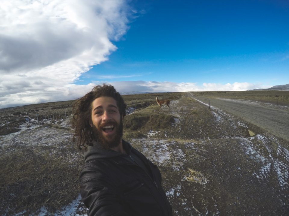 Mike and a guanaco buddy in Patagonia