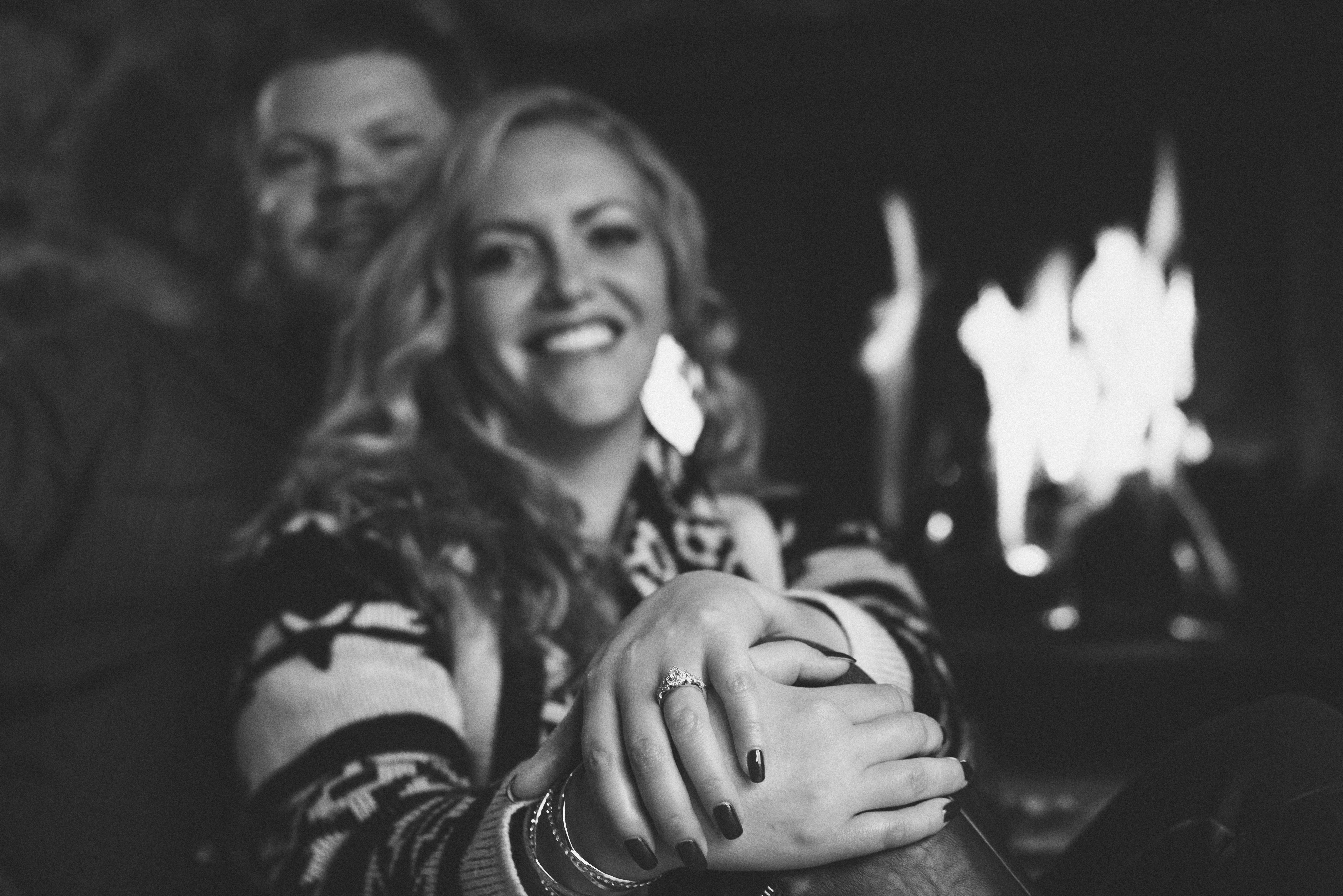 engaged couple and a ring