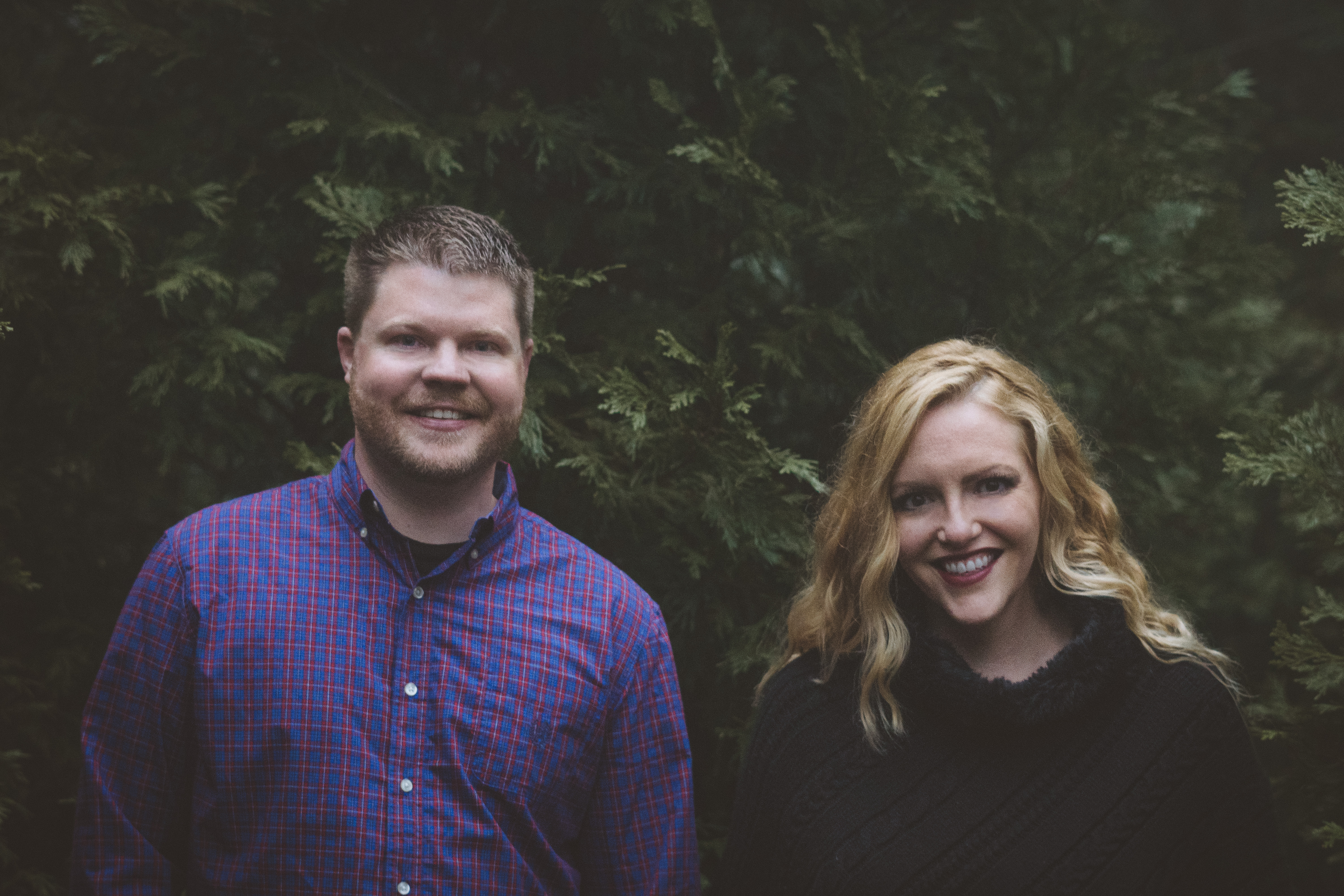 Forest Engagement Photos with Evergreens