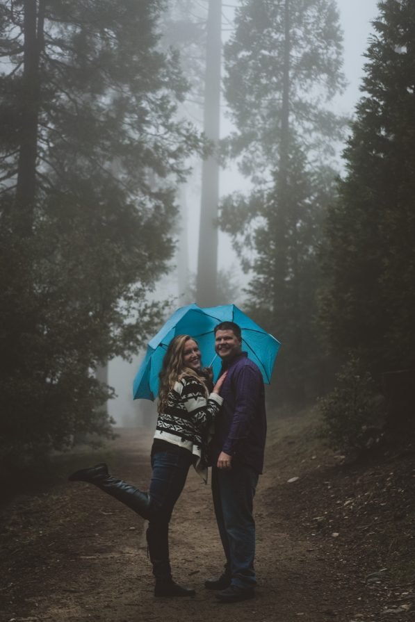Adorable Forest Engagement Photos with Umbrellas