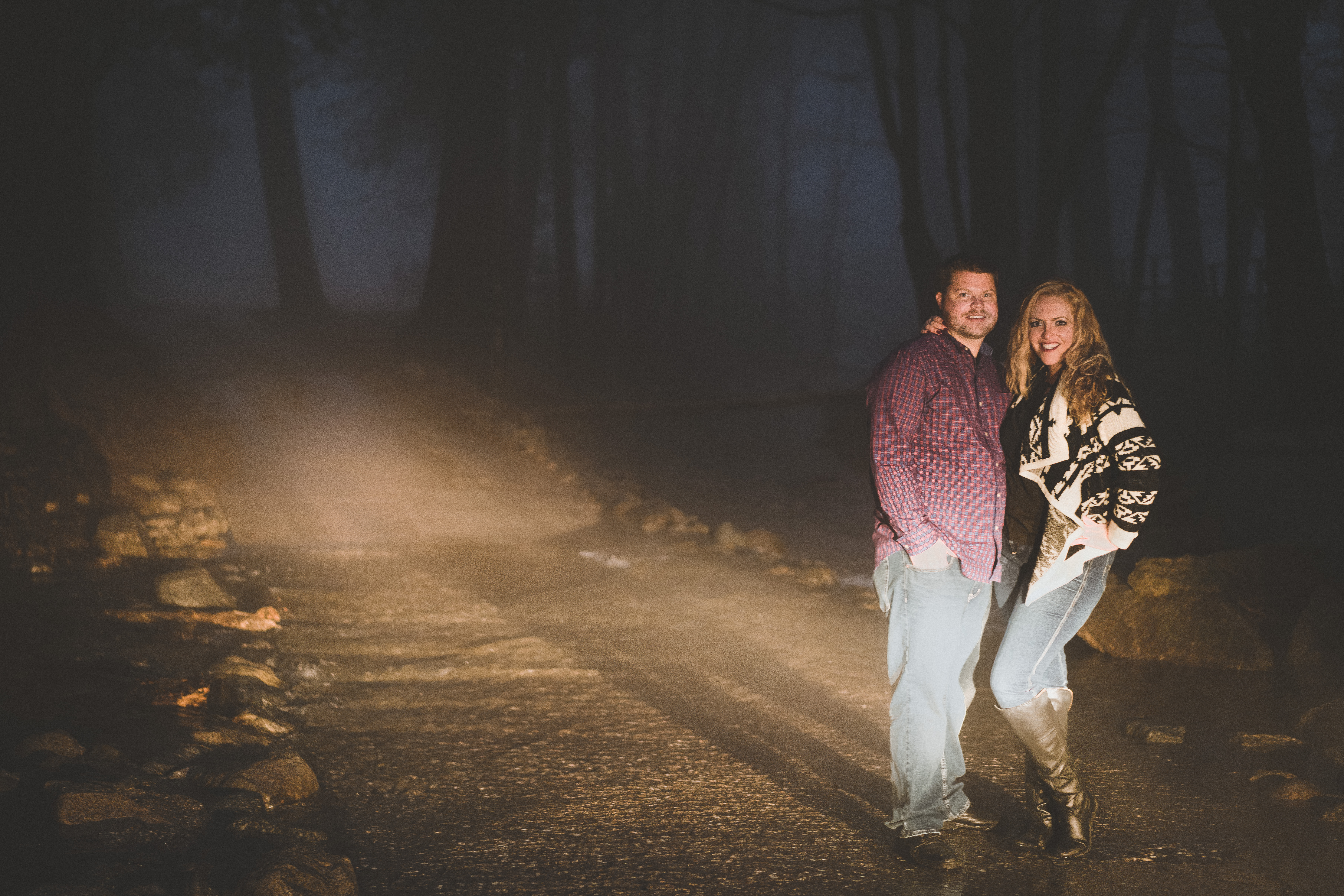 Moody Night Forest Engagement Photos