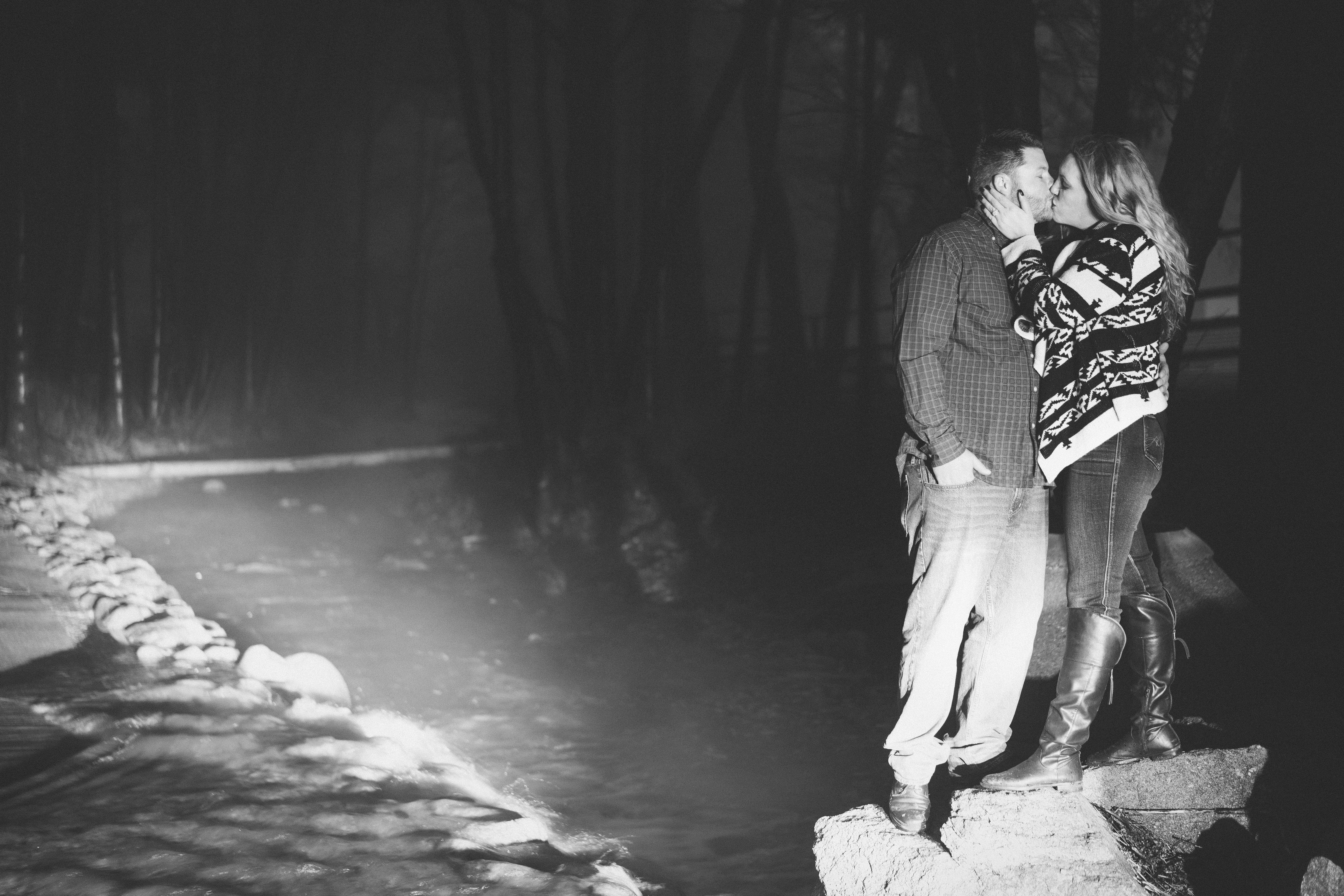 Nighttime Kiss by the Creek