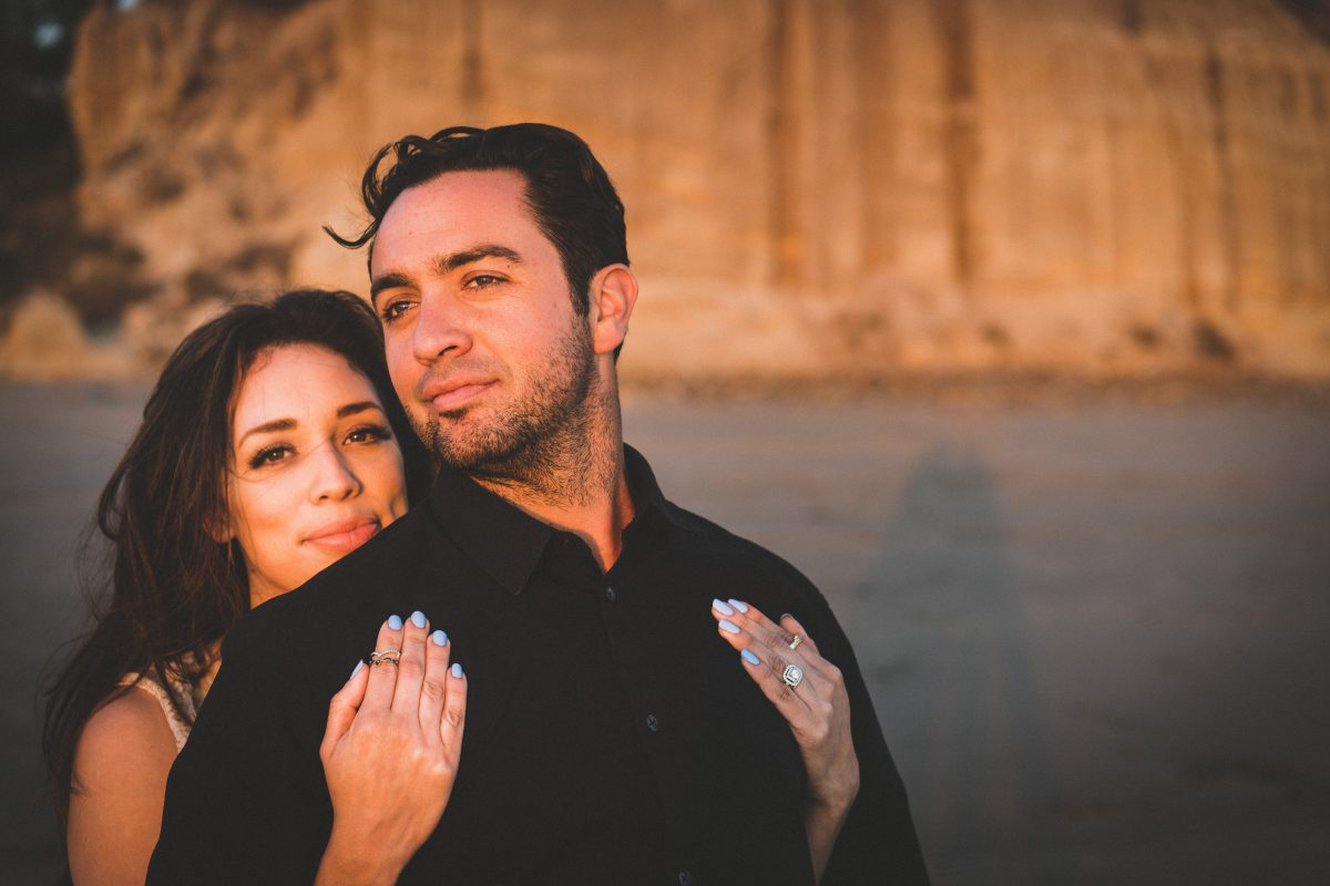 gorgeous couples' faces with nice sunset light