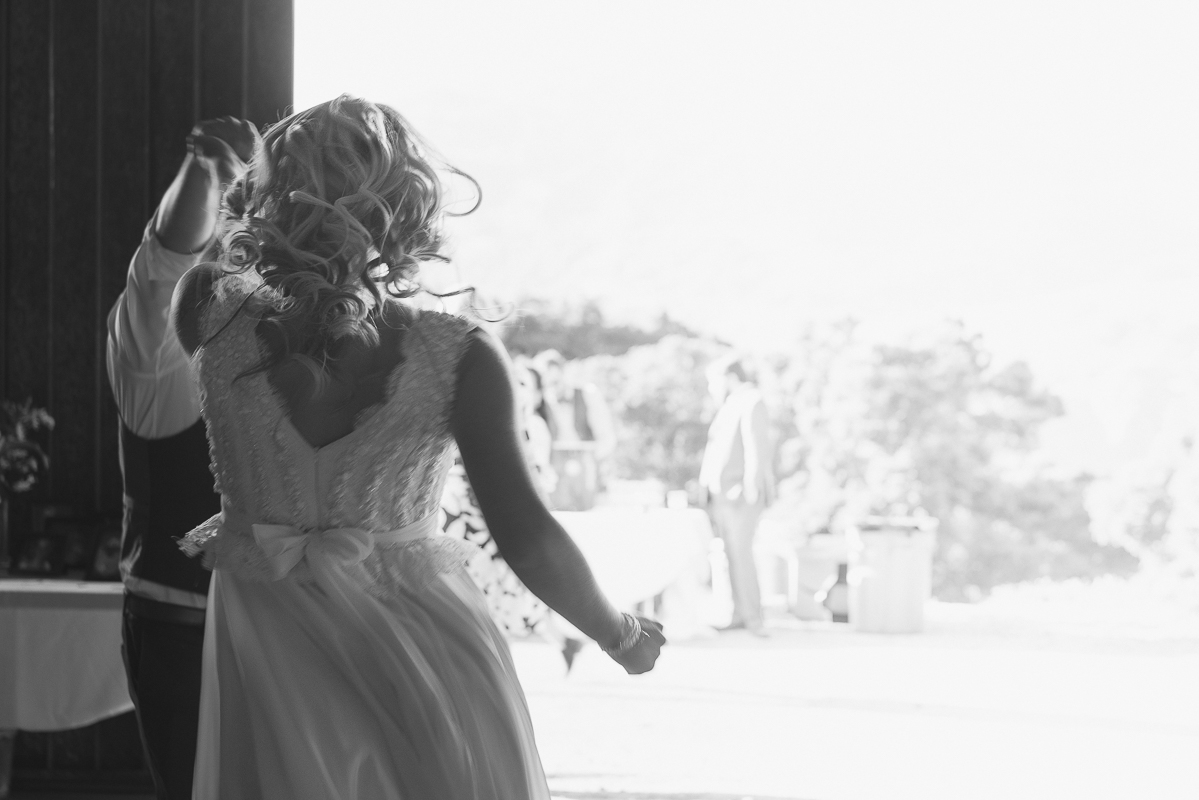 Brides dancing and hair flowing in the wind