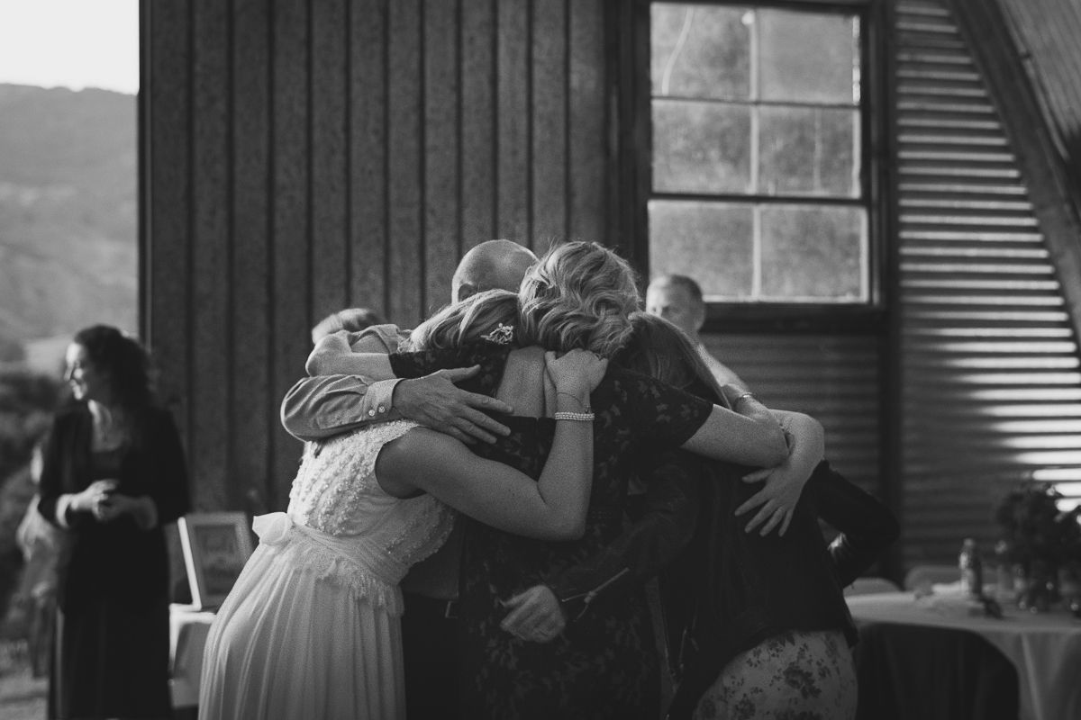 family hug in the reception
