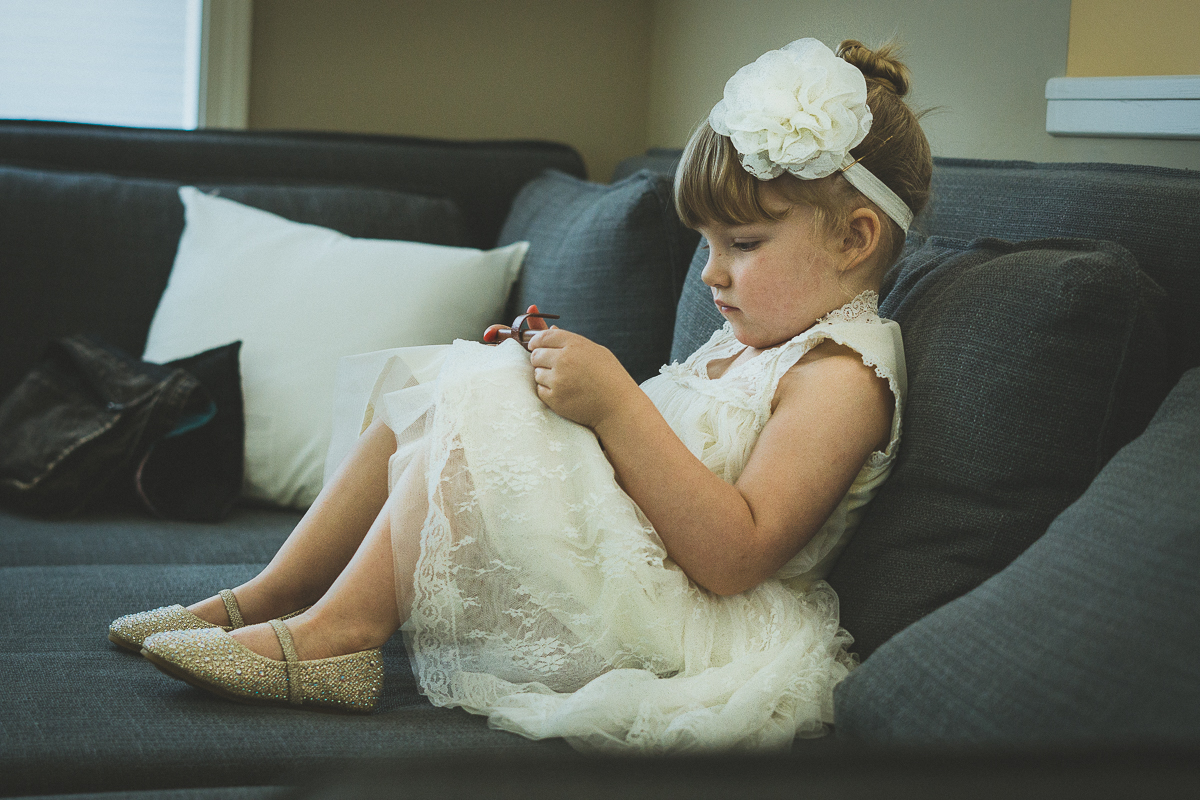 Flower girl playing videogames