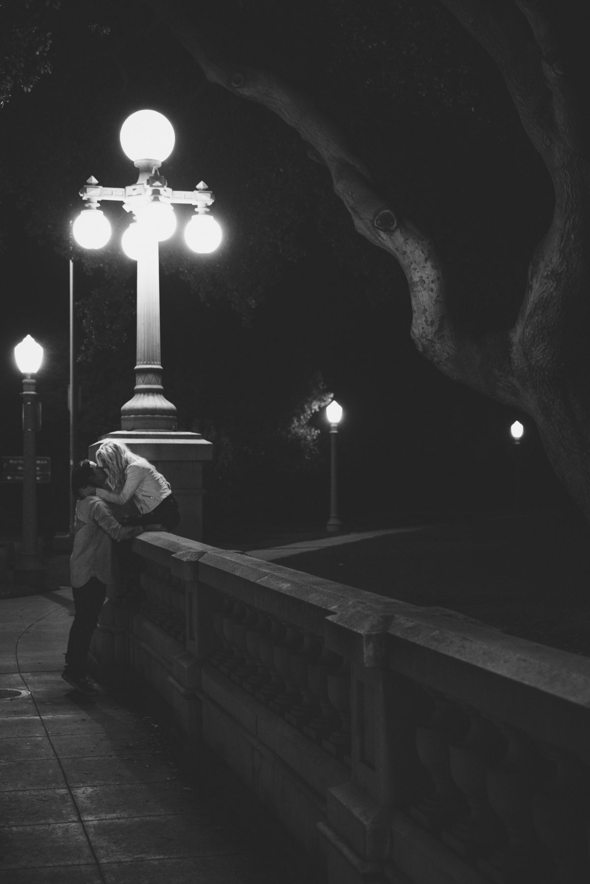 Kissing in Los Angeles City Night