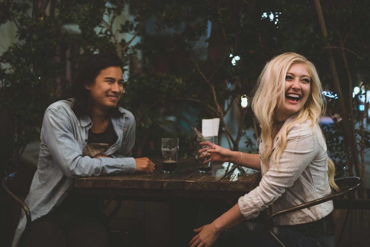 Couple laughing at a Los Angeles Restaurant