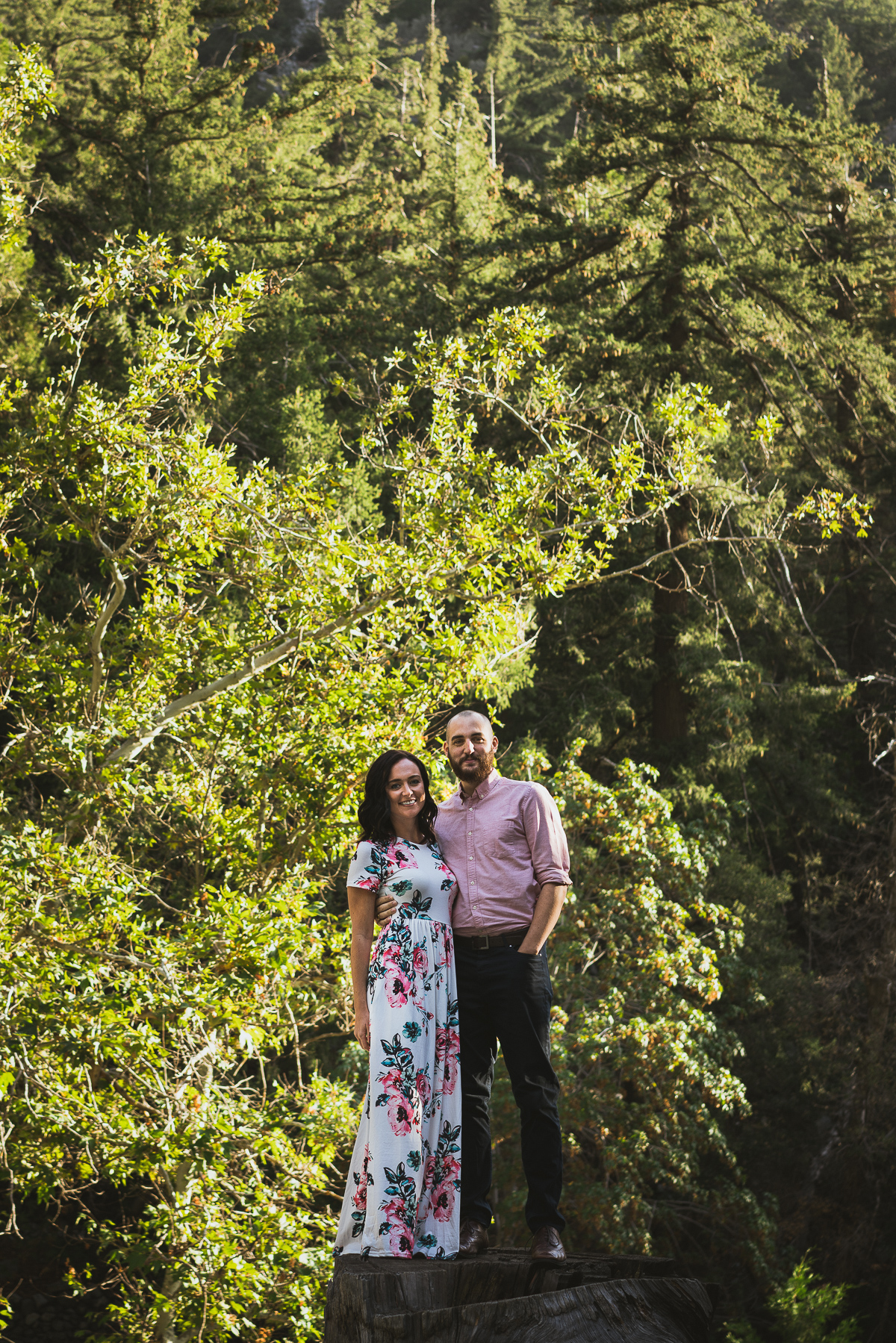 Couple in front of the forest