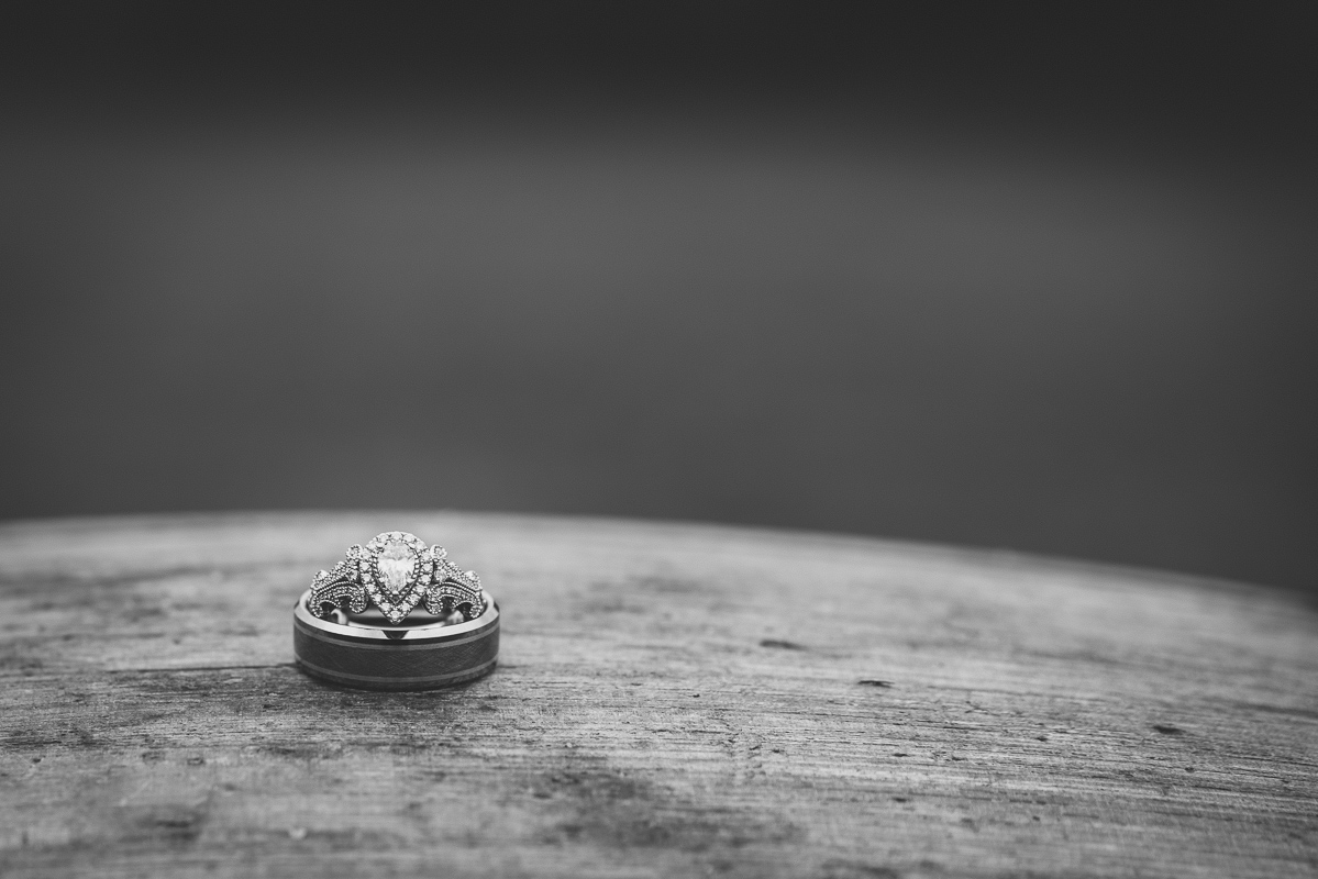black and white macro shot of wedding ring