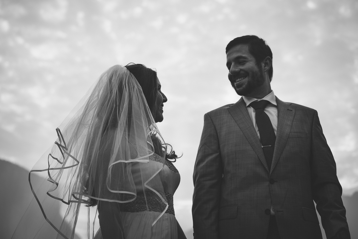 Husband and wife smiling