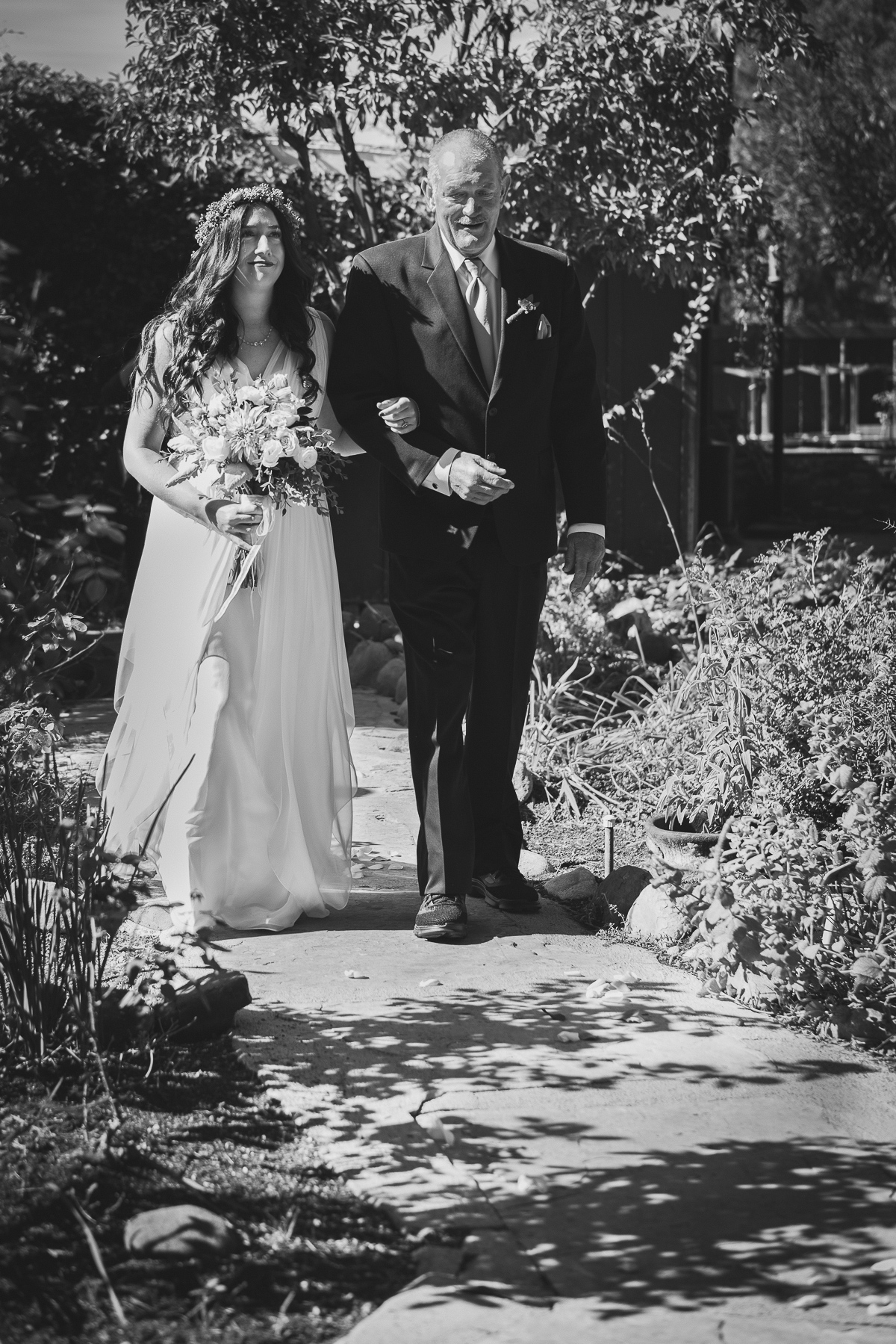 Father and Bride walking to the altar