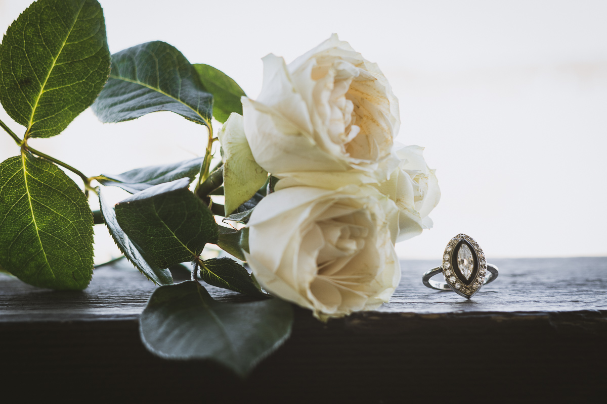 Beautiful wedding ring and flowers